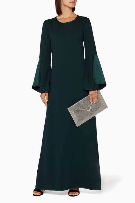 Emerald-Green Flare-Sleeve Dress