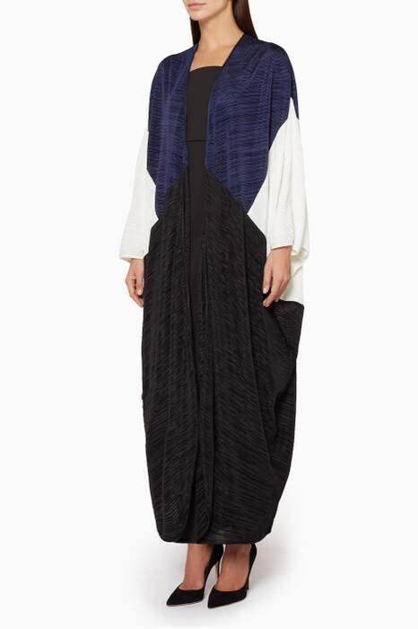 Navy & Black Color-Blocked Micro pleated Abaya
