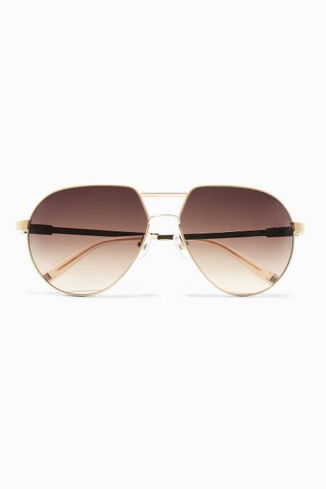 French Ivory No Cruelty Metal Aviator Sunglasses