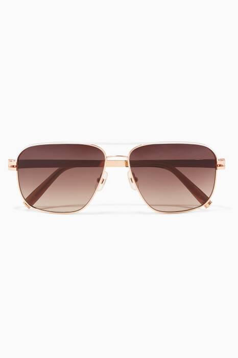 Rose-Gold & Pearl No Hunger Metal Aviator Sunglasses