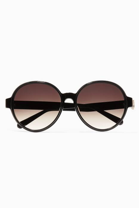 Black & Gold Merle Lace Effect Acetate & Metal Sunglasses