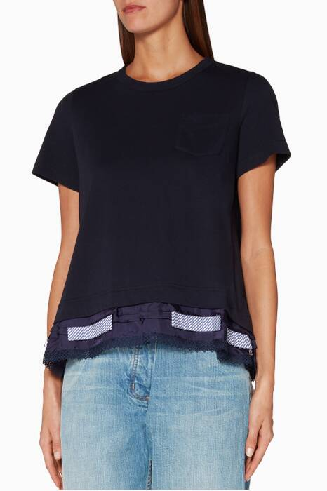 Navy Cotton & Lace Cocoon T-Shirt