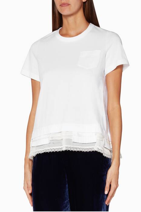 White Cotton & Lace Cocoon T-Shirt