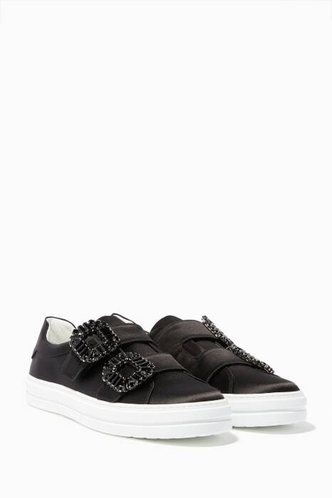 Black Satin Sneaky Viv Strass Slip-On Sneakers