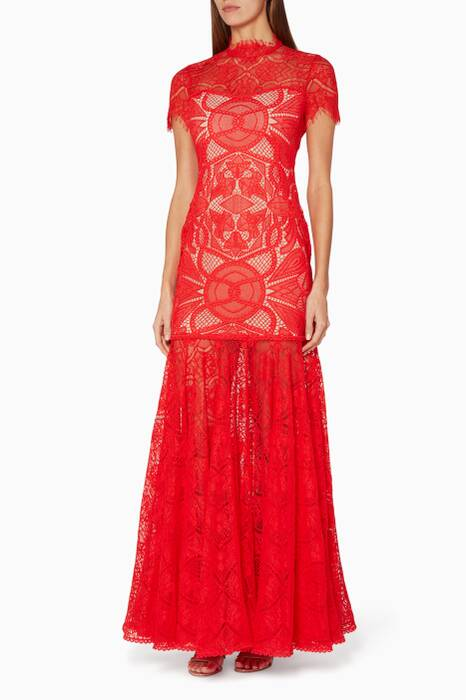 Red Lace Applique Dress