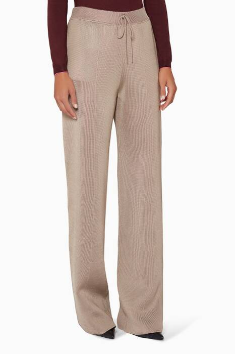 Beige Double-Face Knitted Pants