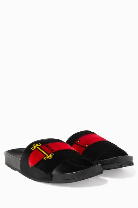 Black Velvet Printed Slides
