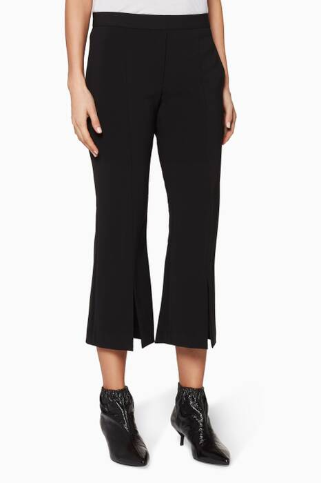 Black Split-Hem Flared Pants