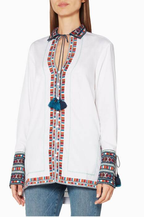 Ivory Embroidered Cotton Zoya Shirt
