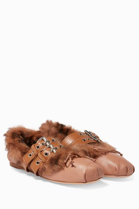 Light-Brown Leather Fur-lined Ballerina Flats