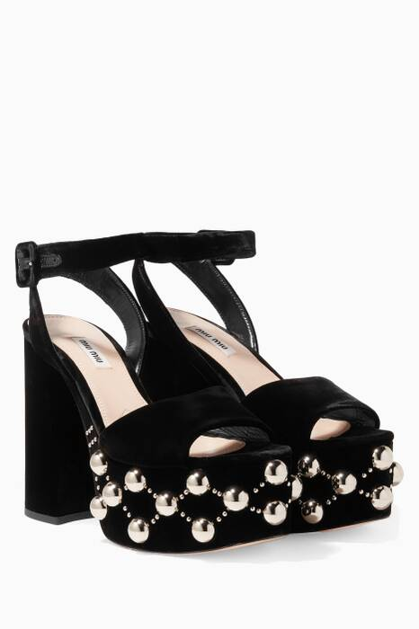 Black Velvet Studded Platforms