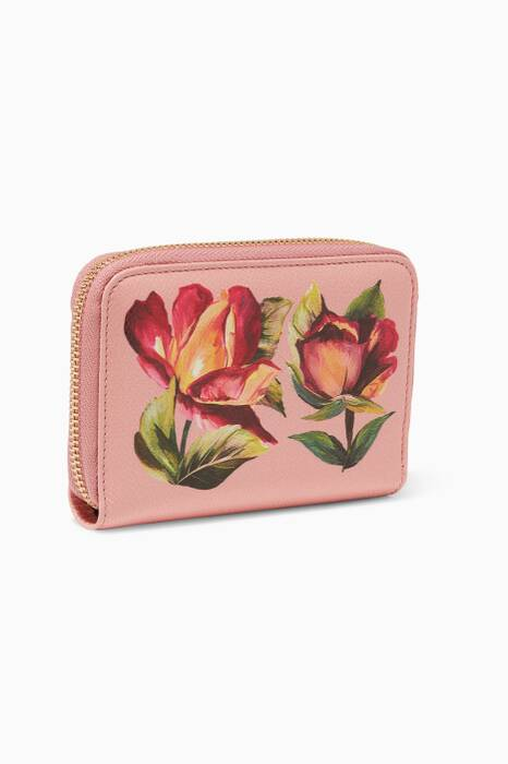 Pink Rose Printed Leather Half Wallet