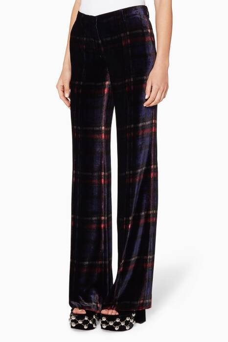 Multi-coloured Velvet Checked Pants