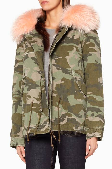 Green Camouflage Printed Mini Parka