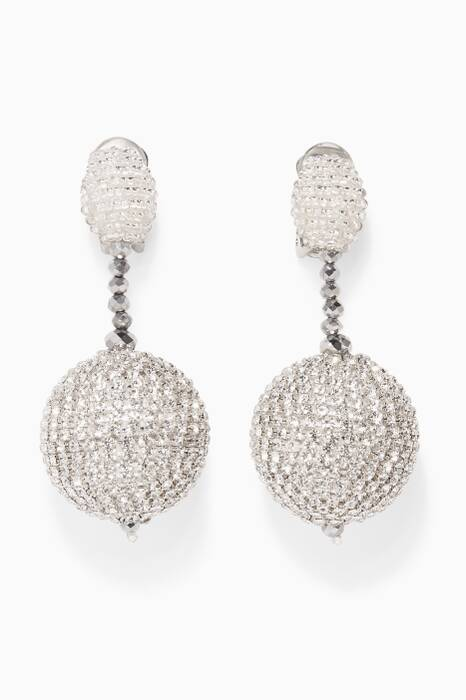 Silver Beaded Drop Crystal Earrings