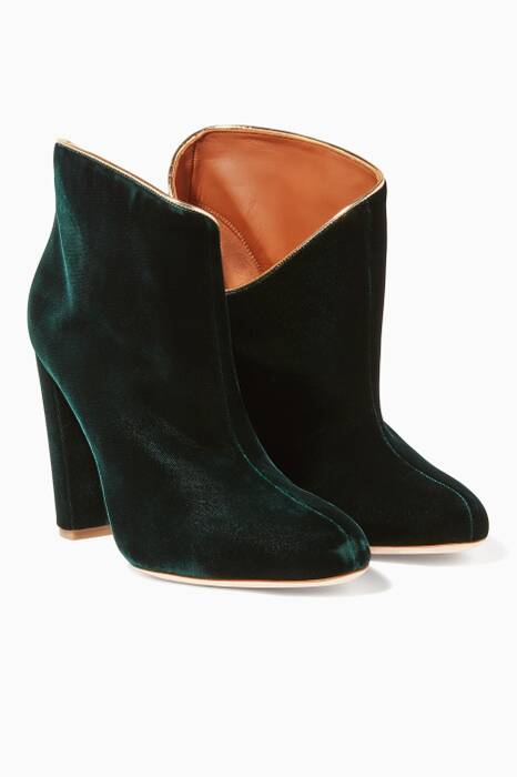 Dark-Green Eula Velvet Booties