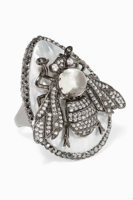 Silver, Cubic Zirconia & Mother-of-Pearl Bee Ring