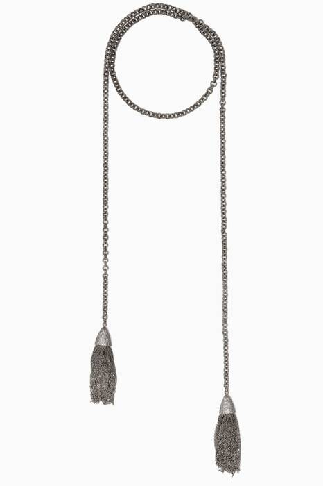 Silver & Cubic Zirconia Tassel Necklace