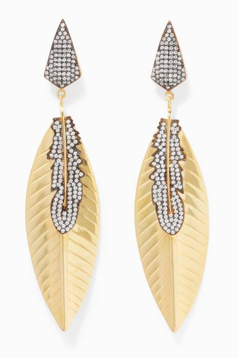 Gold, Silver & Cubic Zirconia Wing Earrings