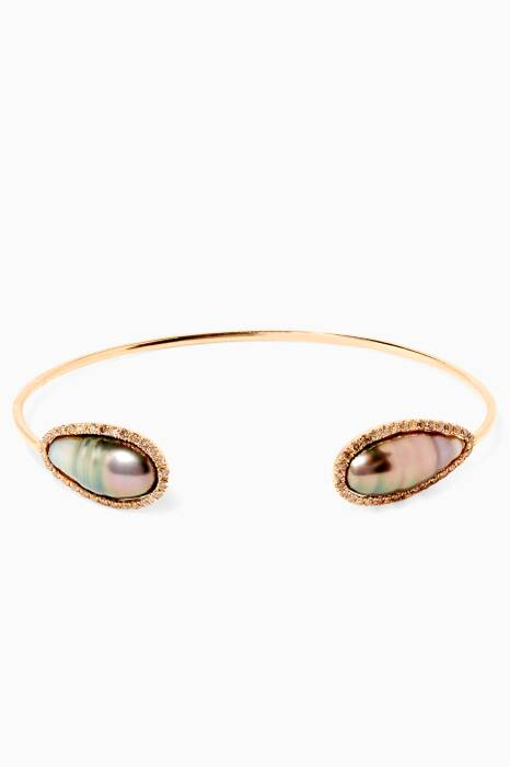 Yellow-Gold & Keshis Pearl Bangle