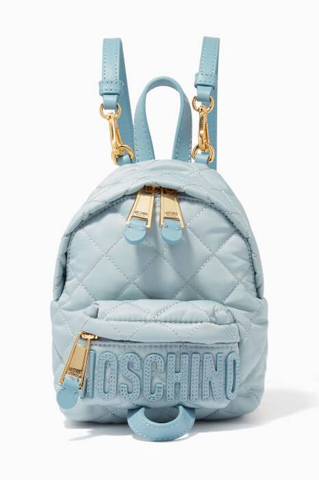 Light-Blue Mini Quilted Backpack