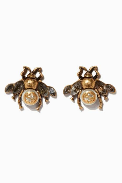 Antique-Gold & Pearl Bee Earrings