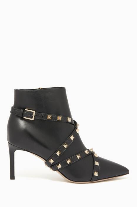 Black Studwrap 75 Leather Ankle Boots