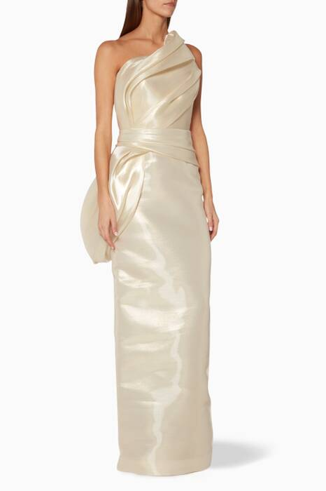 Gold Strapless Hand Draped Gown