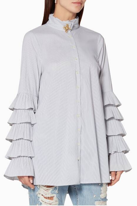 White Pinstriped Pleated Sleeved Oxford Shirt