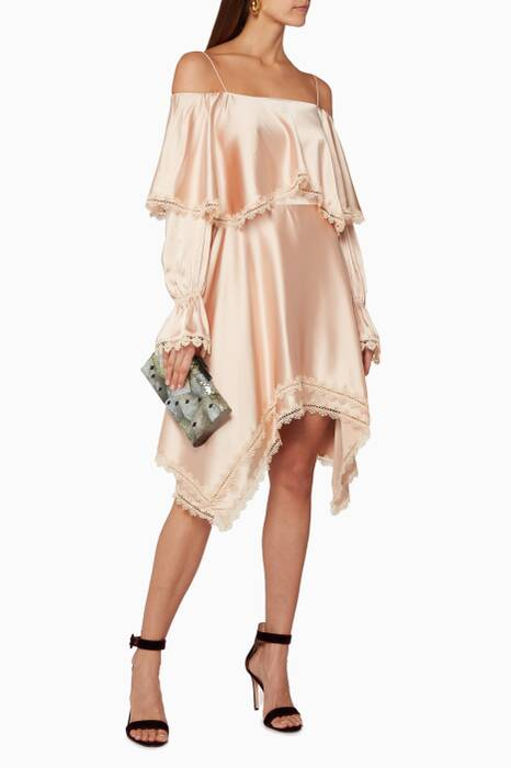 Beige Off-The-Shoulder Ruffled Dress