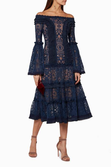 Navy Tower Mesh Off-The- Shoulder Lace Dress