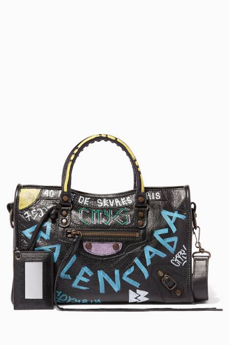 Black Graffiti Classic City Tote Bag