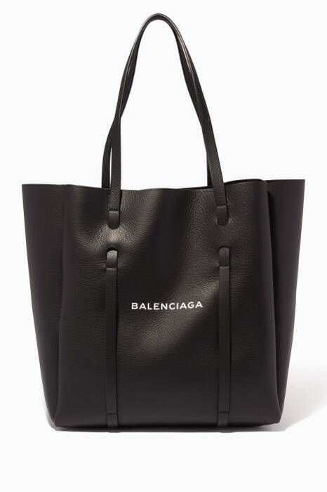 Black Leather Logo Tote Bag