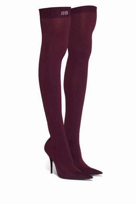 Burgundy Knife Spandex Thigh Boots