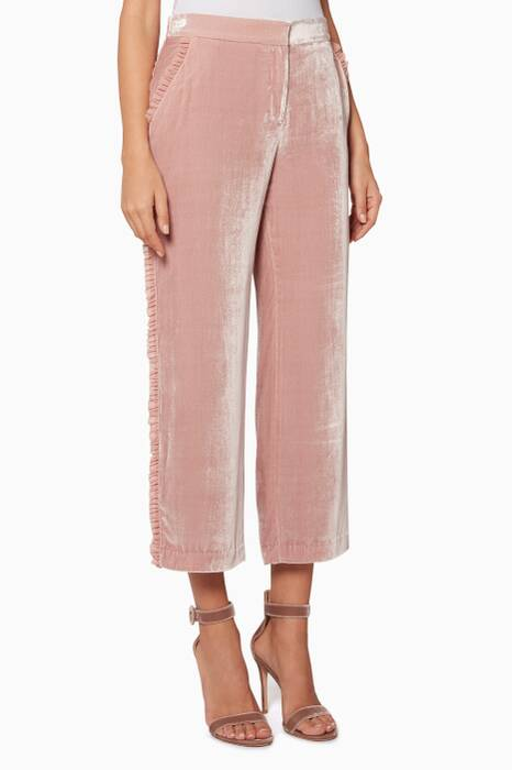 Mauve Frayed Trim Zoma Pants