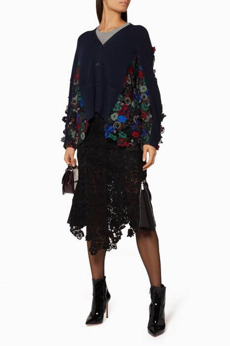 Black Flower Chemical Lace Skirt