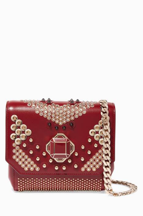 Burgundy Mini Studded Cross-Body Bag