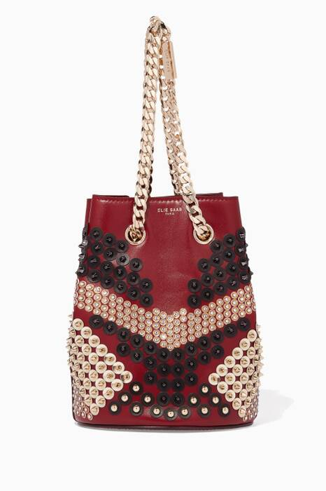 Burgundy Small Studded Bucket Bag