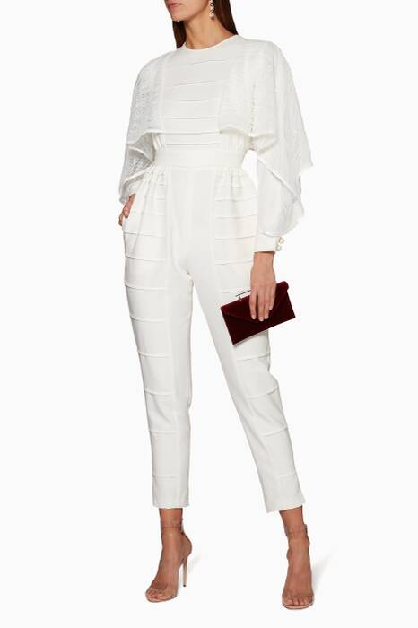 White Ruffle-Trimmed Jumpsuit