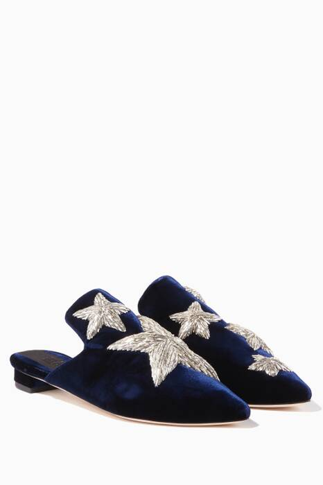 Dark-Blue Stelle Velvet Slippers