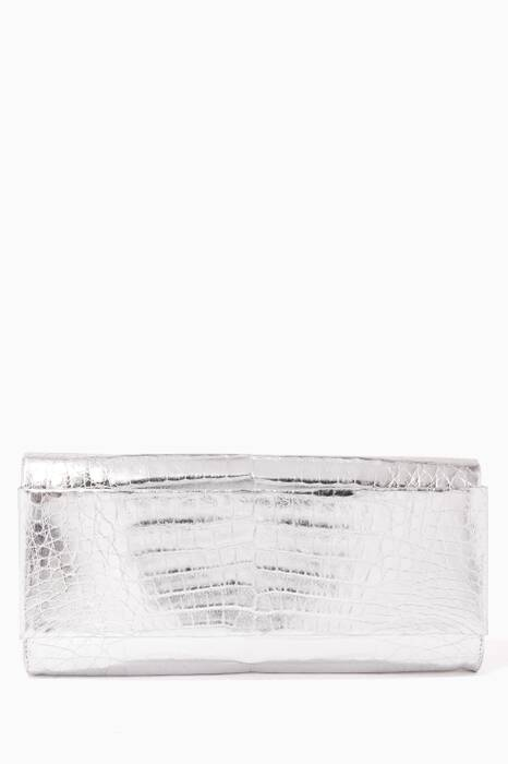 Silver Crocodile Fold-Over Clutch