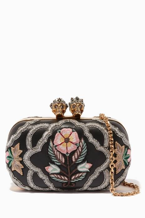 Black Embroidered Queen & King Clutch