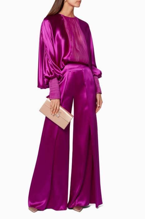Bright-Pink Wide-Leg Pants