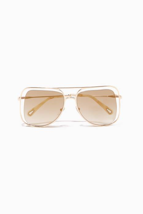 Gold & Havana Poppy Butterfly Sunglasses
