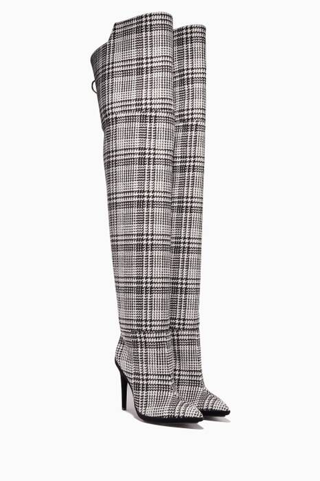 Black & White Tartan Over-The-Knee Boot