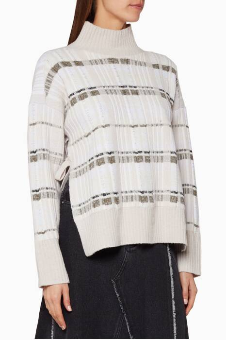 Beige Abstract Plaid Sweater