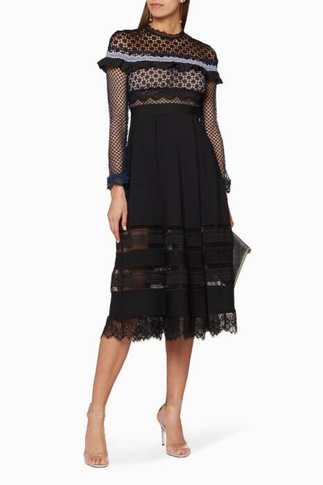 Black Bellis Lace Trim Dress
