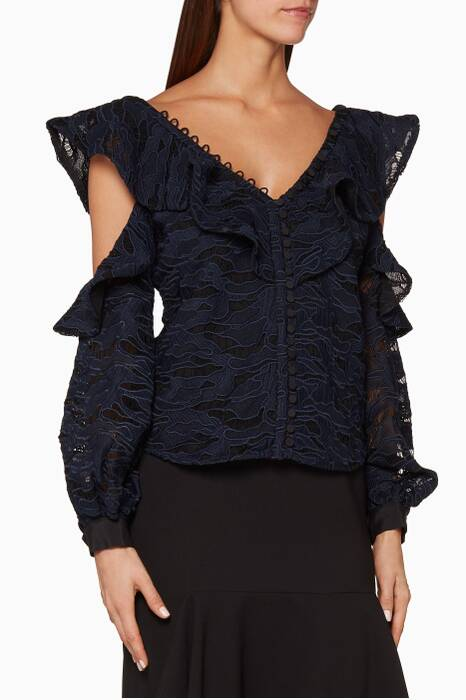 Navy Camouflage Lace-Frill Top