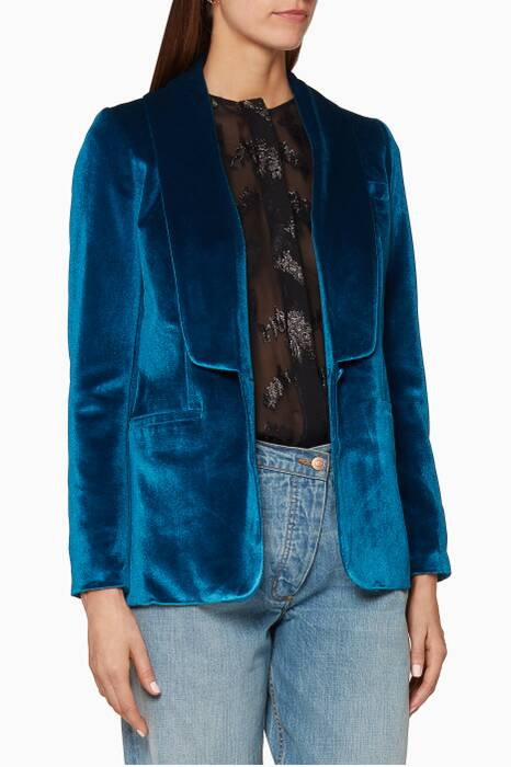 Teal Velvet Double-Breasted Coat