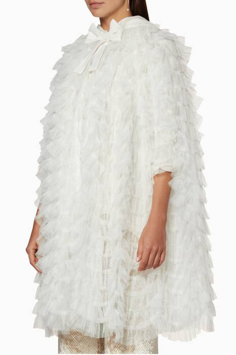 White Ruffled Tulle Hooded Cape